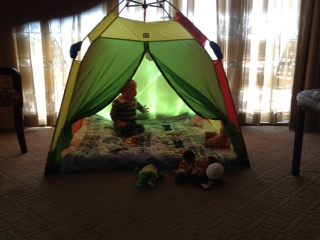 A tent for our son- and all those stuffed animals came from staff at The Wilshire