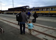 JJ and I heading for the train