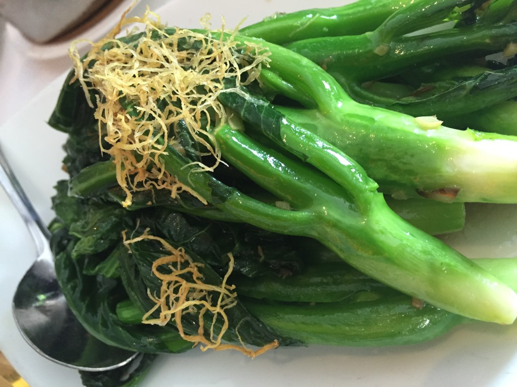 Chinese broccoli with ginger - Royal China restaurant is 100 yards away and has amazing food - but even for someone who wants great vegetables- look at this!