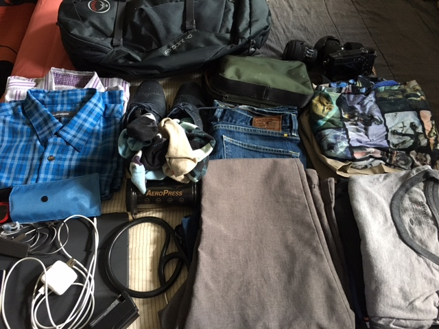 Pants, shorts, shirts, simple hardware all in a 40 Liter bag (can fit in any international overhead space)